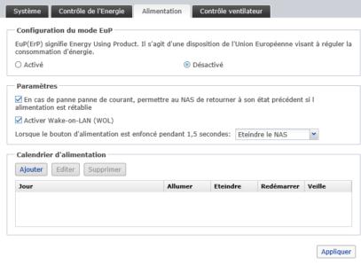 Gestion de l'énergie, Wake-On-LAN, récupération après coupure électrique...
