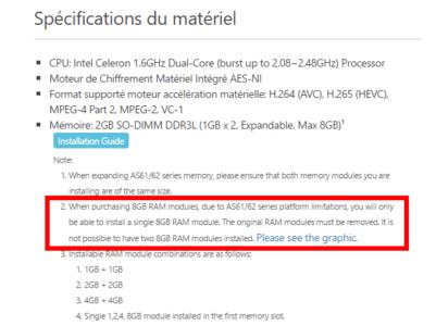 Les Nas Asustor 61/62 peuvent voir leur RAM augmentée à 8 Go