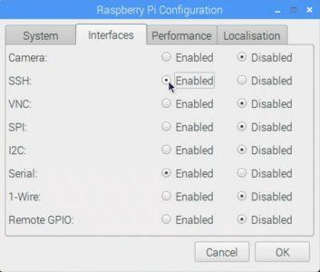 Activez ici le protocole SSH pour pouvoir vous connecter ensuite sur le raspberry.