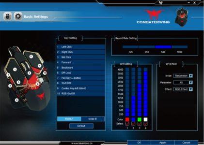 Voici l'interface du logiciel permettant de paramétrer la souris