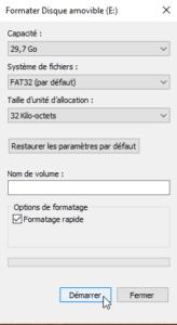 Un formatage rapide en FAT32 suffira