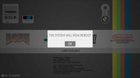 En validant, RecalOS vous avertit qu'il doit redémarrer.