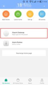 Dans l'application Mi-Home, sélectionner la Gateway