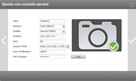 Configuration de la caméra UpCam via le protocole web
