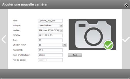 Configuration de la caméra UpCam via le protocole RTSP