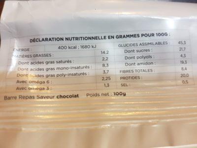 Voici la composition d'une barre au chocolat Feed