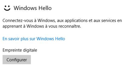 La fonction Windows Hello est prête à être configurée car le lecteur USB est reconnu