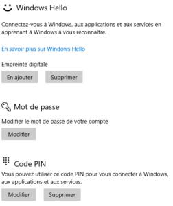 De retour sur cet écran, Windows Hello est opérationnel
