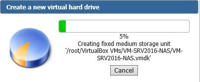 Création du disque virtuel en cours