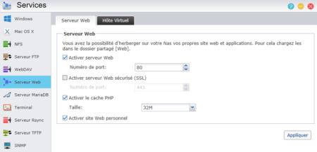 """Cochez """"activer le serveur web"""" et cliquez sur Appliquer"""