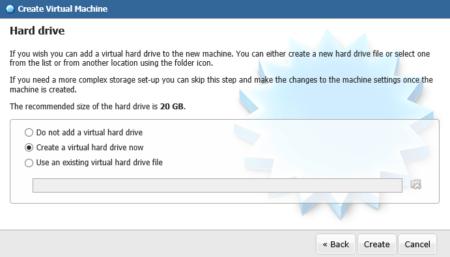 Choisissez maintenant de créer un nouveau disque dur (ou d'en importer un si vous en avez déjà un)