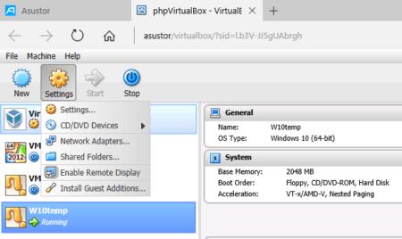 Cliquez sur Settings puis sur Install Guest Additions