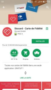 L'application Stocard sur le PlayStore