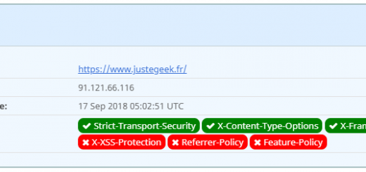 JusteGeek.fr passé de D à C grâce à la mise en place de l'en-tête X-Content-Type-Options