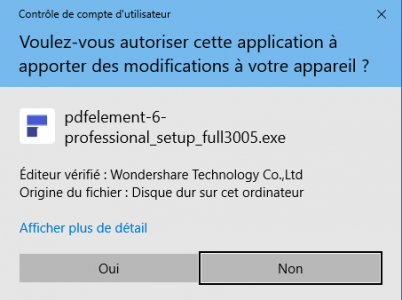 Validez pour pouvoir installer PDFelement