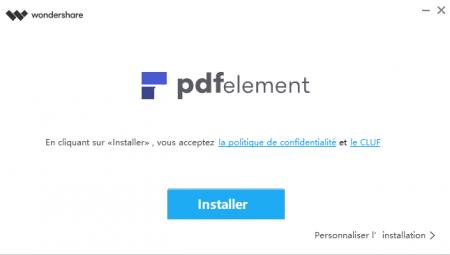 Installation de PDFelement : cliquez sur installer