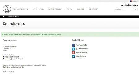 Audio-Technica : la page contact du site