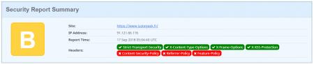 JusteGeek.fr passé de C à B grâce à la mise en place de l'en-tête X-XSS-Protection