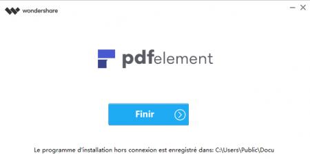 Installation de PDFelement terminée : cliquez sur Finir