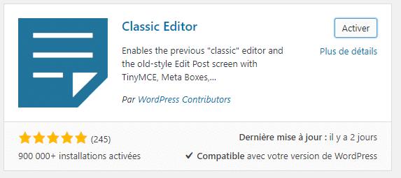 Installation de l'extension Classic Editor
