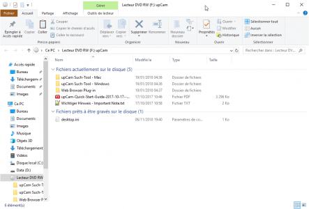UpCam Such Tool : installation du logiciel de paramétrage UpCam