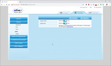 UpCam Vortex : les paramètres réseau (UPnP)