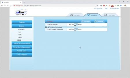UpCam Vortex : les paramètres réseau (DDNS)