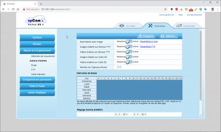 UpCam Vortex : les paramètres d'alarme et d'enregistrement