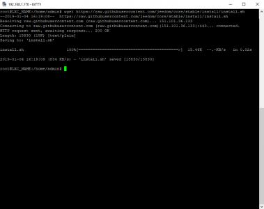 Linux Center : téléchargement du script d'installation de Jeedom