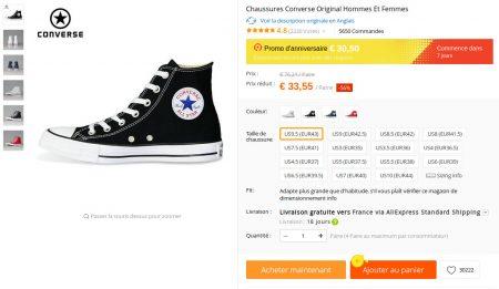"""Des """"Converse Original"""" selon le vendeur AliExpress"""