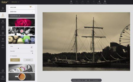 Fotor permet d'ajouter des filtres, exemple ici avec un filtre type sepia