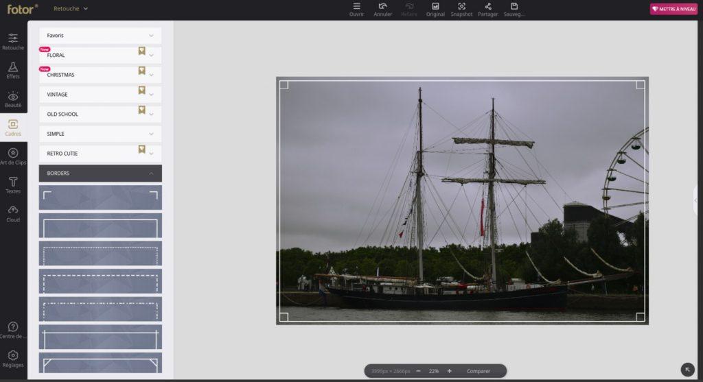 Fotor permet d'ajouter des cadres et autres effets