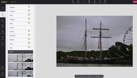 Fotor permet d'ajouter des filtres, exemple ici avec un profil colorimétrique