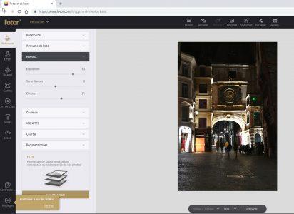 Fotor : une interface claire et intuitive