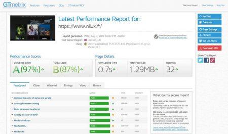Rapport GTmetrix avec WP-Optimize