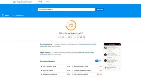 Analyse PageSpeed Mobile du site JusteGeek.fr avec l'optimisation maximale de  WP-Rocket