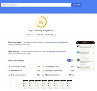 Analyse initiale PageSpeed Mobile du site JusteGeek.fr