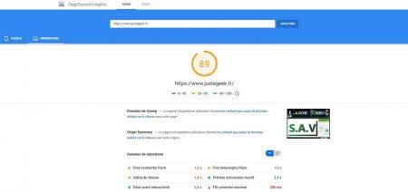 Analyse PageSpeed PC du site JusteGeek.fr avec WP-Rocket