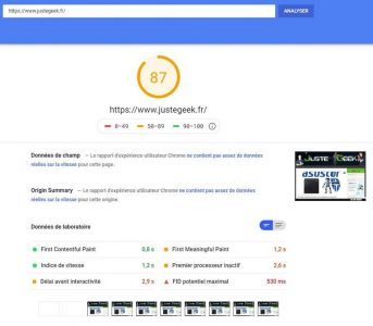 Analyse initiale PageSpeed PC du site JusteGeek.fr