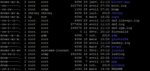 Aperçu du dossier /var/log sur une machine Fedora