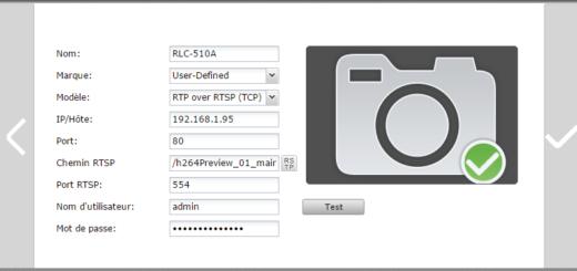 Ajout de la caméra RLC-510A en mode RTP