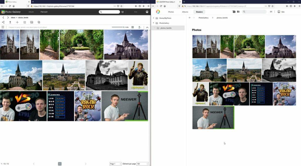 Photo Gallery 3 (à droite) à côté de son ancienne version (à gauche)