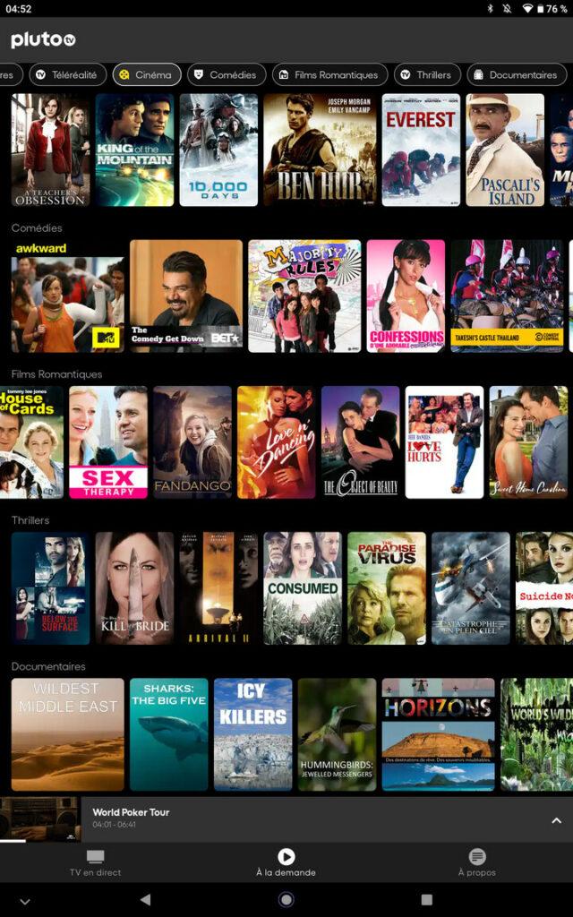 L'interface VOD Pluto TV sur tablette