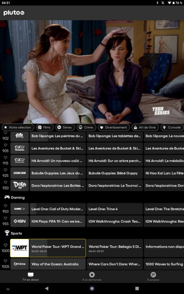 L'interface Pluto TV sur tablette