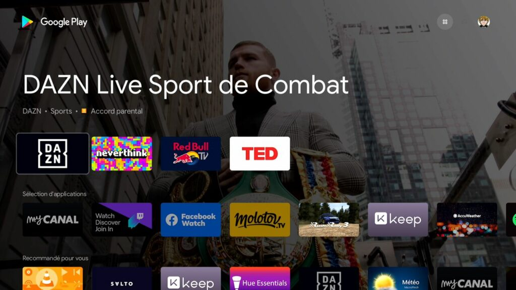 Android TV permet d'installer de nombreuses applications