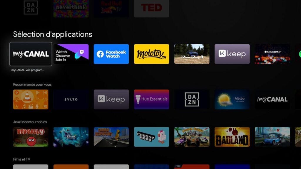 Android TV permet d'installer de nombreuses applications et jeux