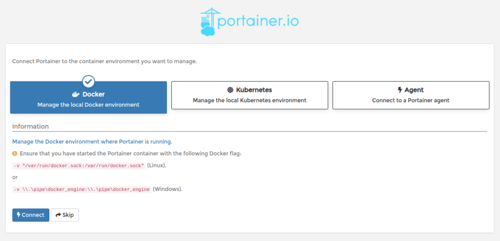 Choisissez l'environnement à manager avec Portainer