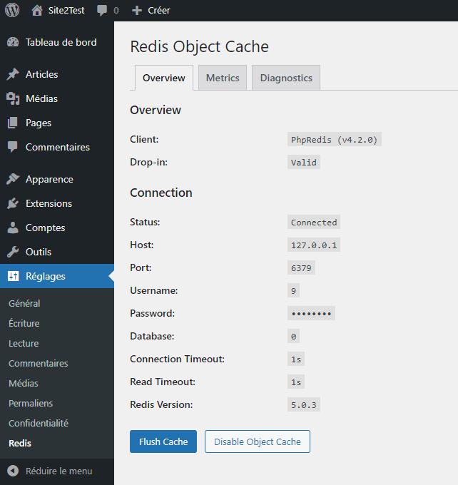 Le cache objet WordPress est désormais activé